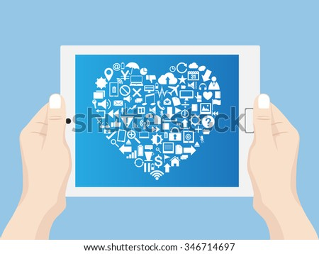 Hand holding Love Heart with Creative business icons, technology icons and strategy planning web icons Idea on tablet computer, Vector Illustration EPS 10.