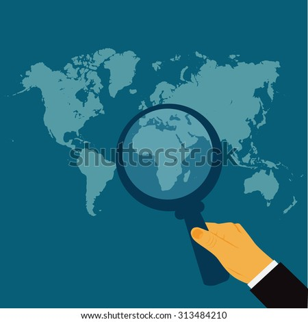 hand holding magnify glass, world map, search, vector illustration in flat design for web sites, Infographic design. - stock vector