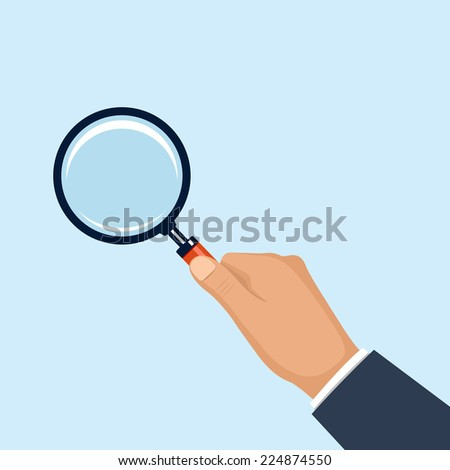hand holding magnifying glass. vector flat style illustration - stock vector