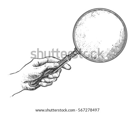 Hand Holding Magnifying Glass Vintage Victorian Era Engraving Style Retro Vector Lineart Drawn Illustration