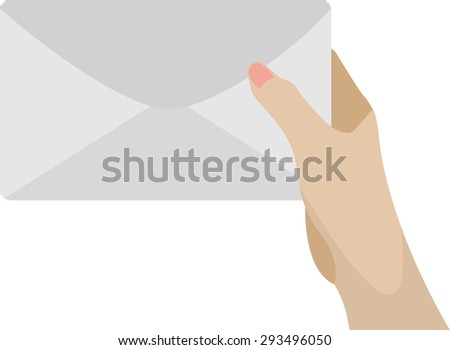 hand holding mail. - stock vector