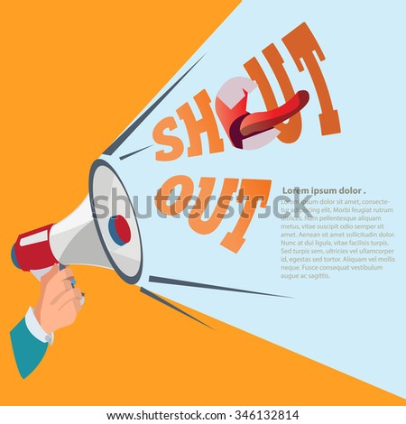 Hand holding megaphone . attention concept - vector illustration - stock vector