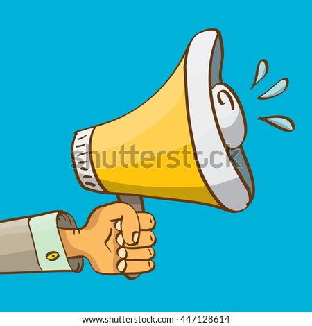 hand holding megaphone on blue background. Promotion and advertising cartoon style banner. vector Digital marketing. cartoon Business concept.  - stock vector