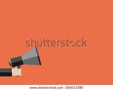 Hand holding megaphone on orange background with large copy space. Promotion, marketing, business concept. EPS 10 vector illustration, no transparency - stock vector