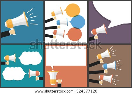 Hand holding megaphone, promotion or announcement concept, vector eps10 illustration - stock vector