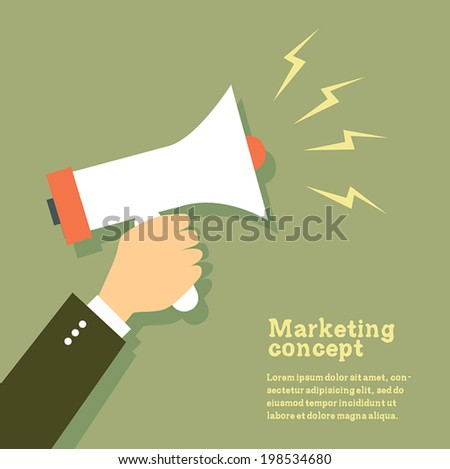 Hand holding megaphone. Vector Illustration. - stock vector