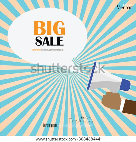Hand holding megaphone with  big sale  word.announcement background.vector illustration. - stock vector