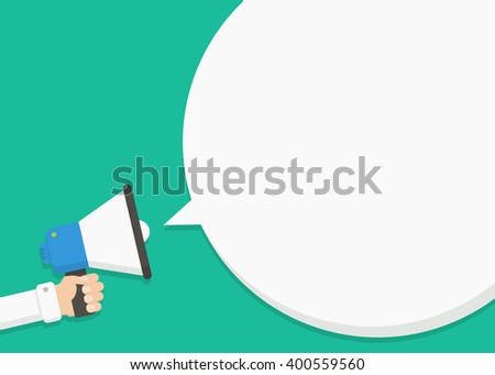 Hand holding megaphone with blank speech bubble. Empty speech bubble for advertising, warning, announce. Speak, shout, to call, announcing through megaphone. Announcing  alarm, warn. - stock vector