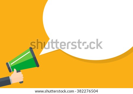 Hand holding megaphone with bubble speech - stock vector