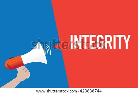 Hand Holding Megaphone with INTEGRITY Announcement - stock vector