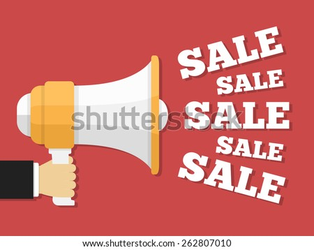 Hand holding megaphone with sale words, promotion concept, vector eps10 illustration - stock vector