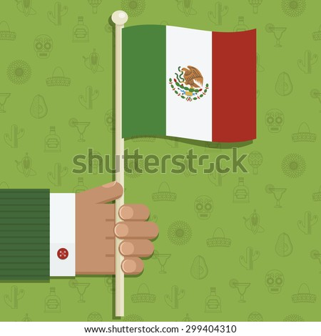 hand holding mexican flag on mexican patterned background, with transparencies - stock vector