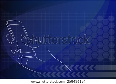Hand Holding Mobile, arm with cell, the background technologies. - stock vector