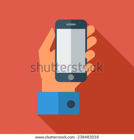 Hand holding Mobile phone. Flat icon whit long shadow. Vector illustration - stock vector