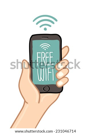 Hand holding mobile phone with free wi fi sign - freehand drawing vector Illustration - stock vector