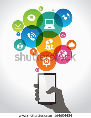 Hand holding mobile phone with icons.  Concept of communication in the network. File stored in version AI10 EPS. This image contains transparency. - stock vector