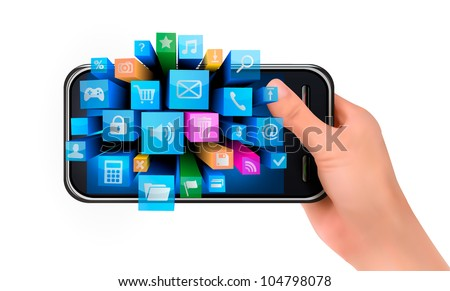 Hand holding mobile phone with icons. Vector. - stock vector