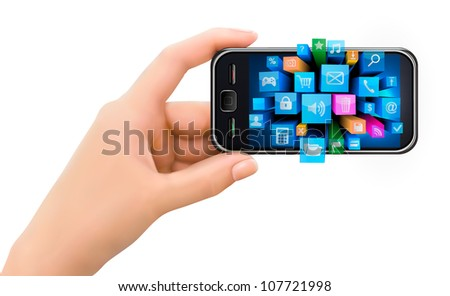 Hand holding mobile phone with icons. Vector - stock vector