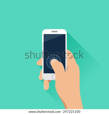Hand holding mobile phone with turquoise background. Flat design style - stock vector