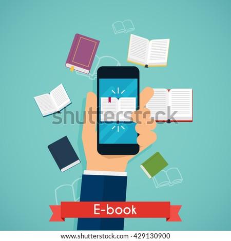 Hand holding mobile smart phone with book icon displayed. Digital book reading. Online reading. Flat design modern vector illustration concept. - stock vector