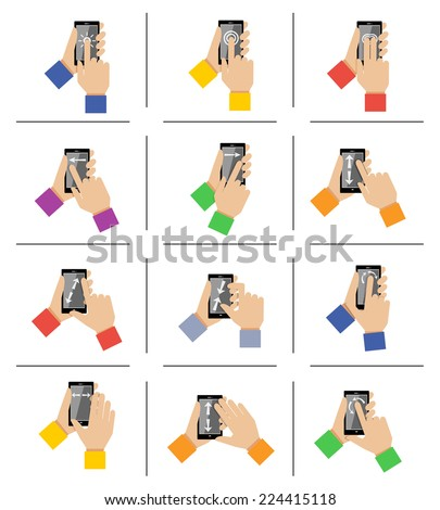 Hand holding mobile smartphone gestures icons set isolated vector illustration - stock vector
