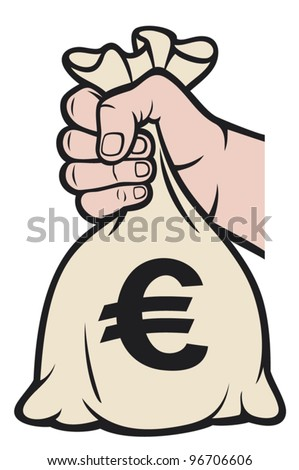 hand holding money bag with euro sign (hand with a bag of money) - stock vector