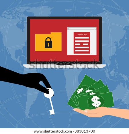 Hand holding money banknote for pay the key unlock data got ransomware malware virus computer form hacker on internet . Vector illustration business technology data privacy and security concept. - stock vector