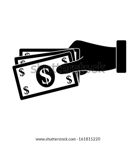 hand holding money icon - stock vector