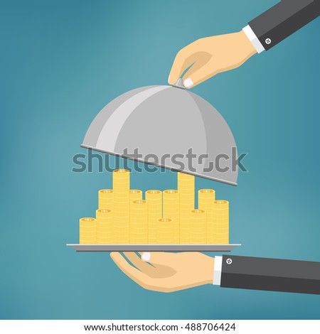 hand holding money on a dish. Concept of human charity, salary or dividends. flat style vector illustration.