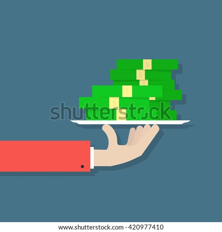 hand holding money on plate. concept of human charity, capital on dish, exchange, salary, dividends, budget, bill, successful. flat style trend modern design vector illustration on dark background - stock vector