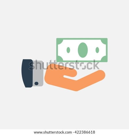 Hand holding money. Saving. bank. A brush. Cash. eps 10. Isolated. vector.