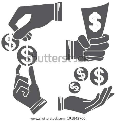 hand holding money sign - stock vector