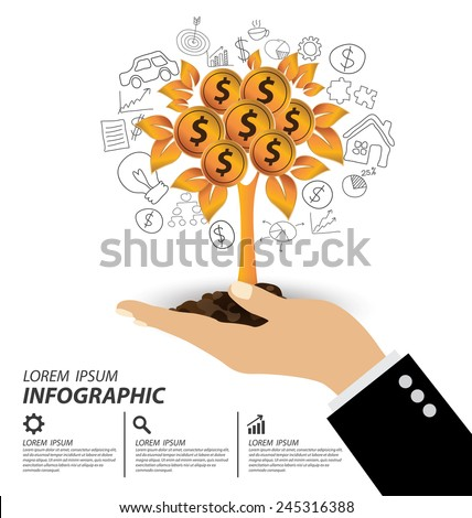 Hand holding Money tree. Financial and business concept. vector illustration. - stock vector