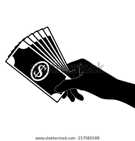 Hand holding money vector icon - black illustration - stock vector