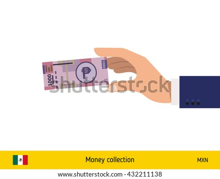 Hand holding money vector illustration. Mexican peso banknote. - stock vector