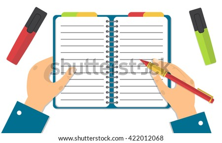 Hand holding notebook and pencil. Concept of organize. Flat design vector illustration. - stock vector