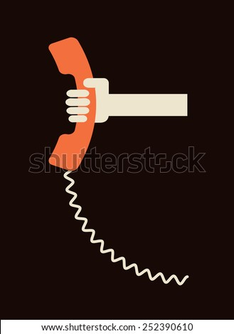 hand holding old telephone receiver - urgent call - communication design template - stock vector