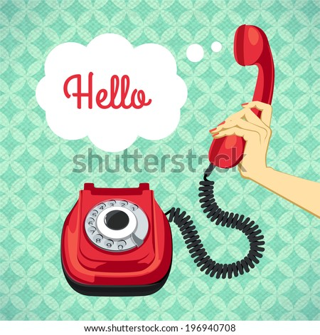 Hand holding old telephone retro poster vector illustration - stock vector