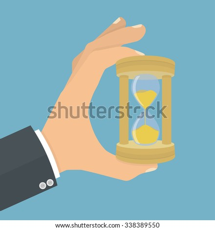 Hand holding or showing wooden hourglass. Flat style - stock vector