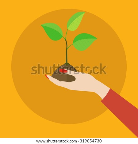 Hand holding out fragile plant ecology vector concept