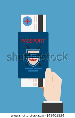 hand holding passport, vector - stock vector