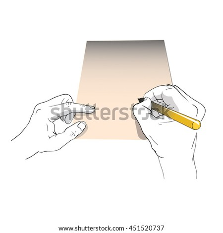 hand holding pen writing on paper vector