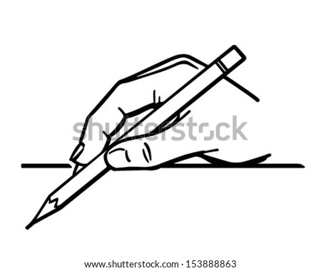 hand holding pencil 2 retro clip stock vector 153888863 - shutterstock