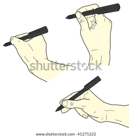 hand holding permanent marker - writing - stock vector