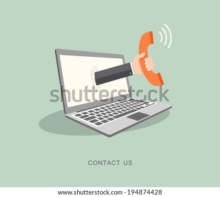 Hand holding phone coming out from laptop. Contact us flat illustration - stock vector