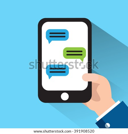 Hand Holding Phone. Phone Message Template. - stock vector