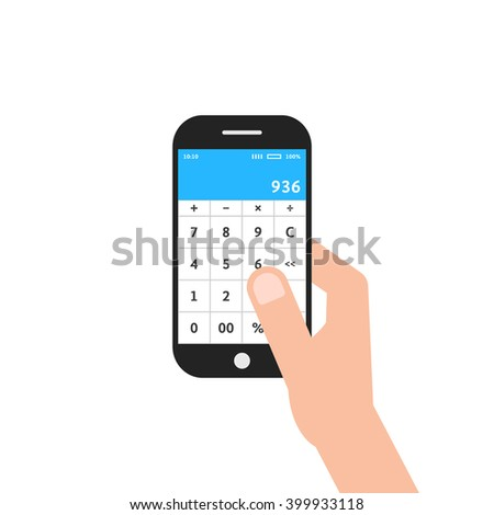 hand holding phone with calculator app. concept of ui, income, balance, tax, program, gadget, marketing, accounting, growth. flat style trend modern design vector illustration on white background - stock vector