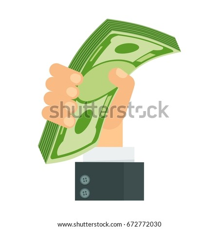 Hand holding pile of money banknotes. Symbol of wealth, success and good luck. Bank and Finance. Flat vector cartoon illustration. Objects isolated on a white background.