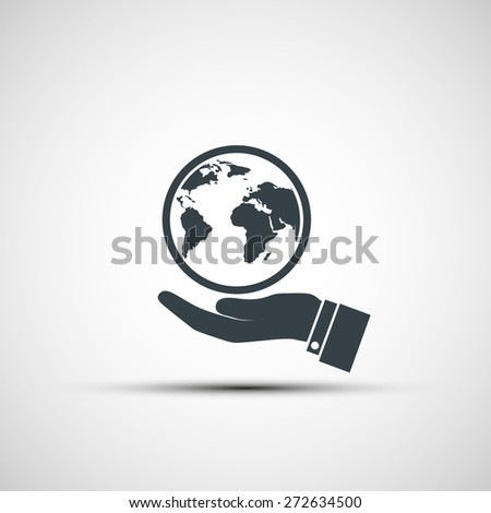 Hand holding planet earth. Vector image. - stock vector