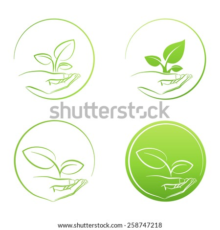 Hand holding plant, logo growth concept vector set - stock vector